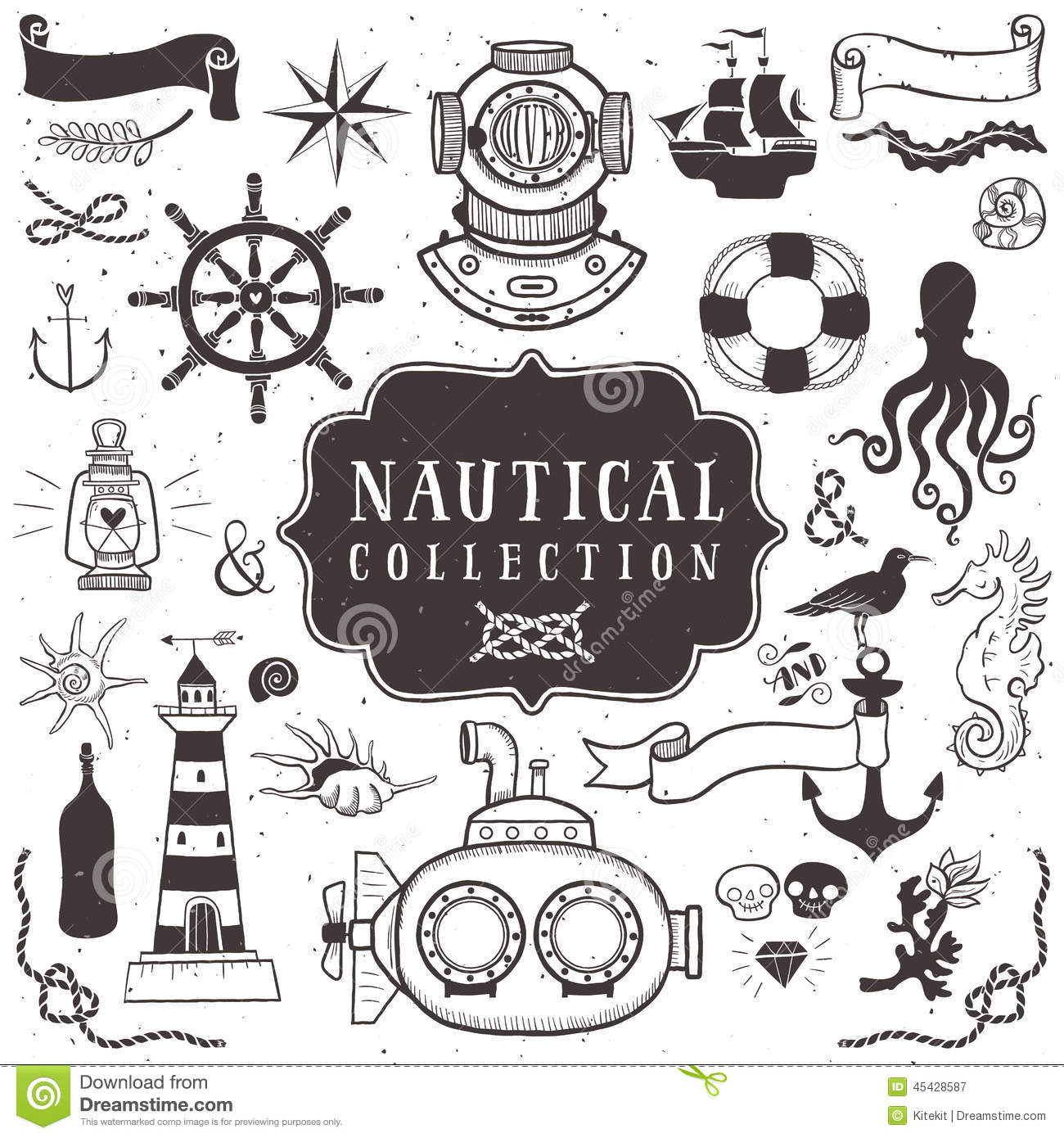 Vintage Hand Drawn Elements In Nautical Style. Vol.1 Stock