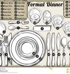 vintage hand drawn place setting formal dinner stock [ 1300 x 997 Pixel ]