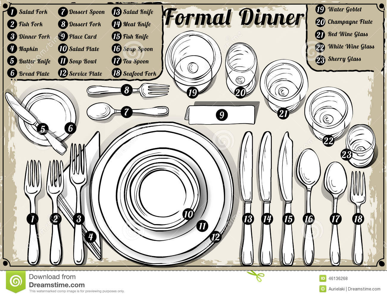 hight resolution of vintage hand drawn place setting formal dinner stock
