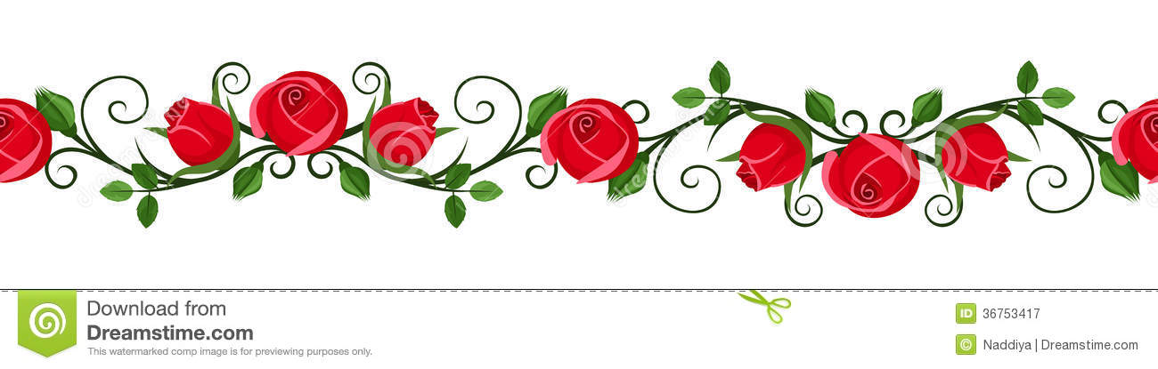 Vintage Horizontal Seamless Vignette With Red Rose Stock