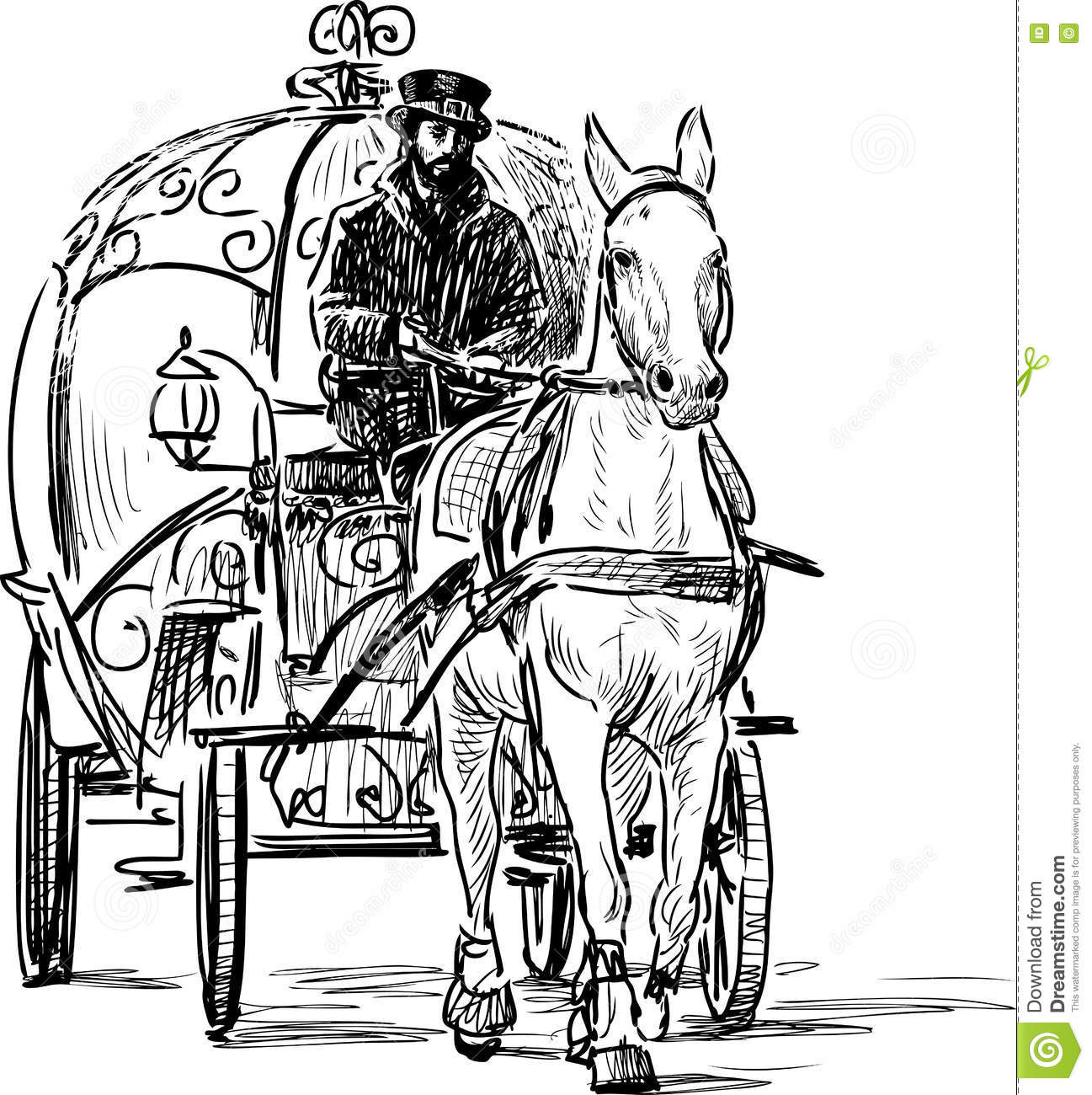 Vintage Horse Carriage Stock Vector Illustration Of