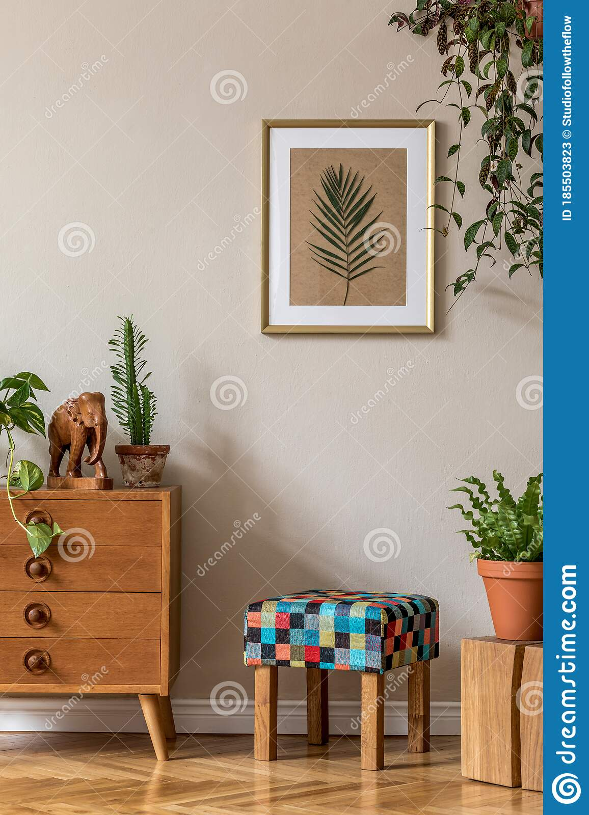 vintage interior design of living room with retro wooden commode stock image image of design leaf 185503823
