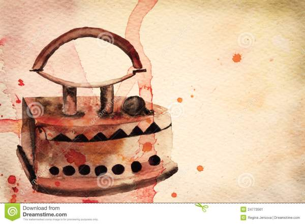 Vintage Iron. Watercolor Illustration Stock