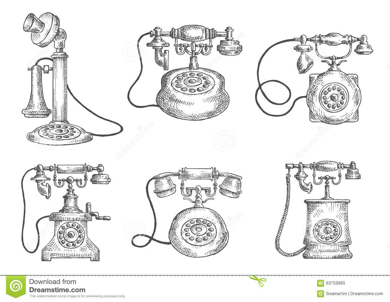 Vintage Isolated Rotary Dial Telephones Sketches Stock
