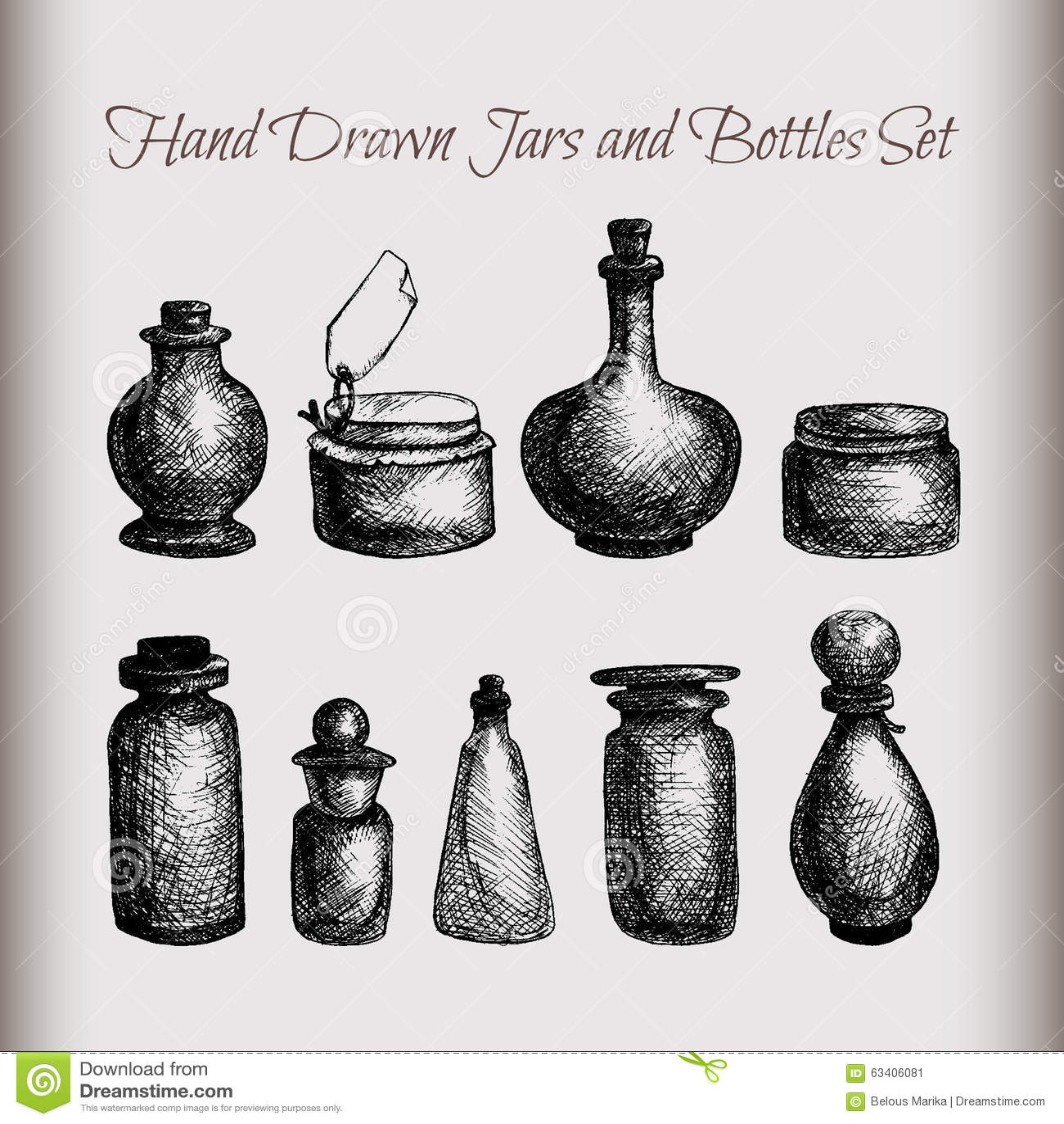 Vintage Jars And Bottles Stock Illustration Illustration Of Medicine
