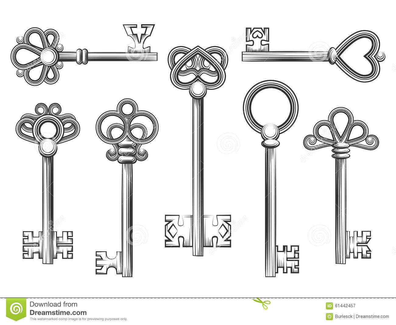 Vintage Key Vector Set In Engraving Style Stock Vector
