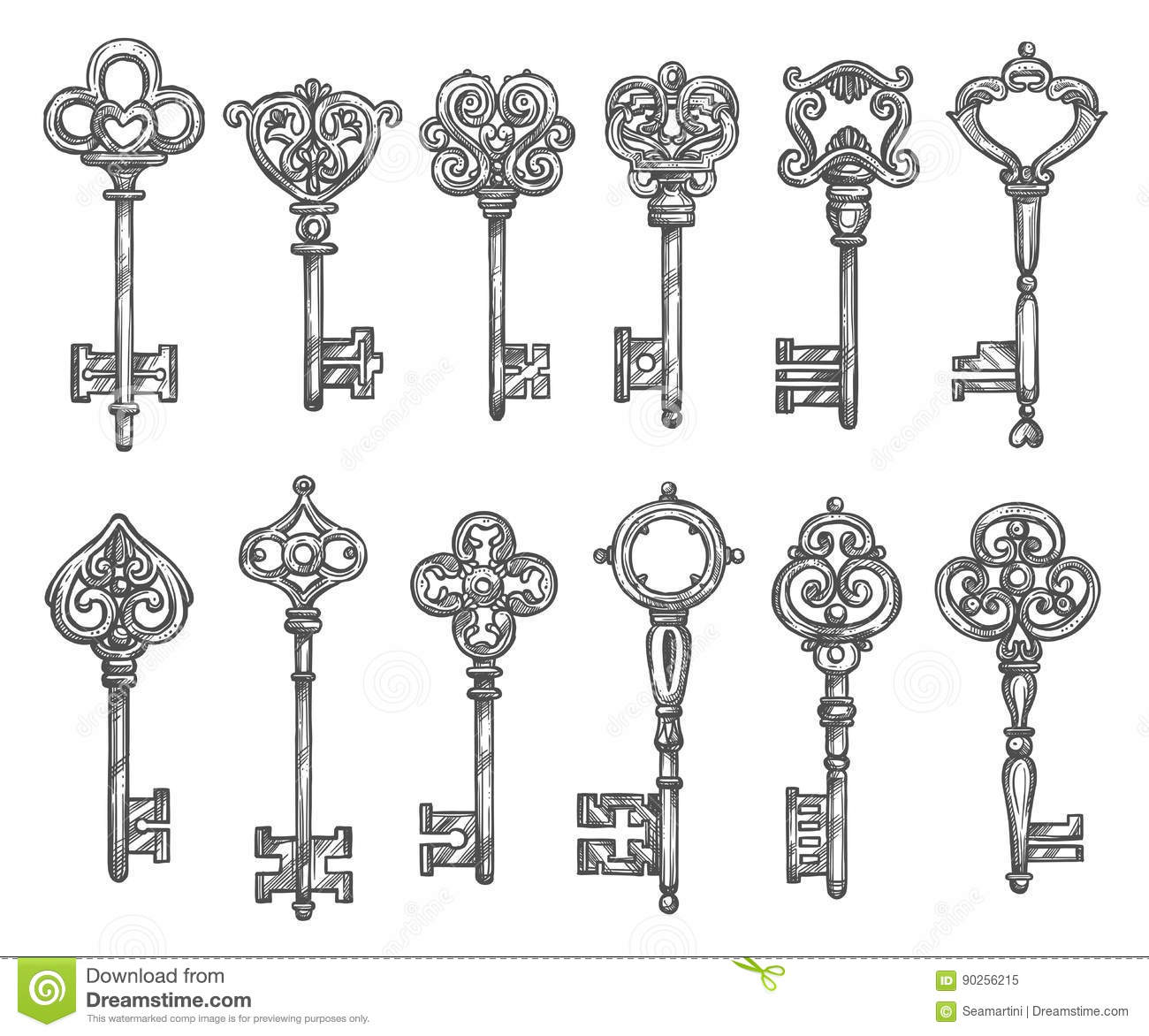 Vintage Keys Vector Isolated Icons Sketch Set Stock Vector