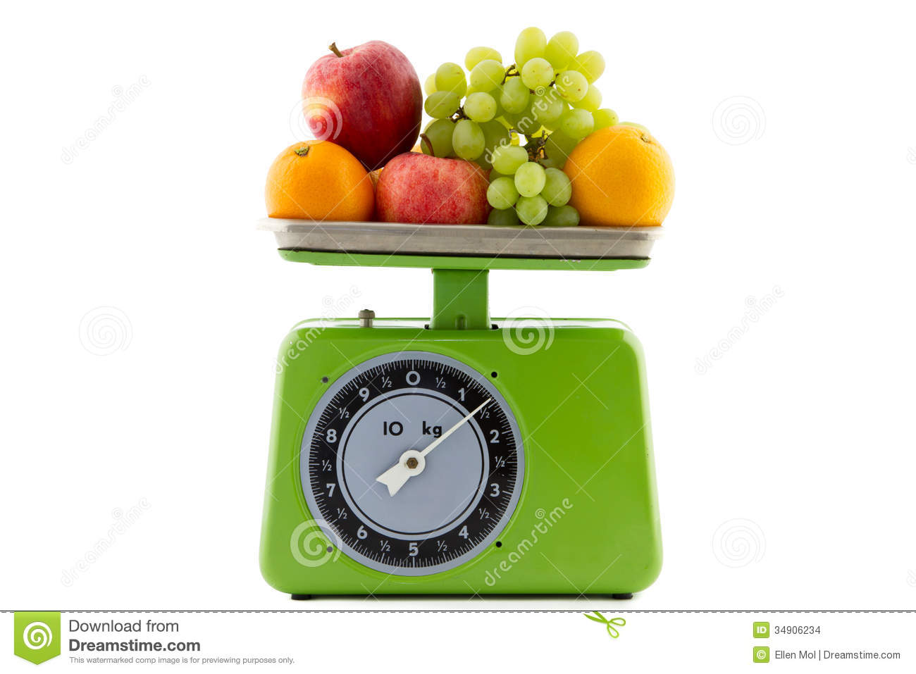 Vintage Kitchen Scale With Fruit Stock Photo