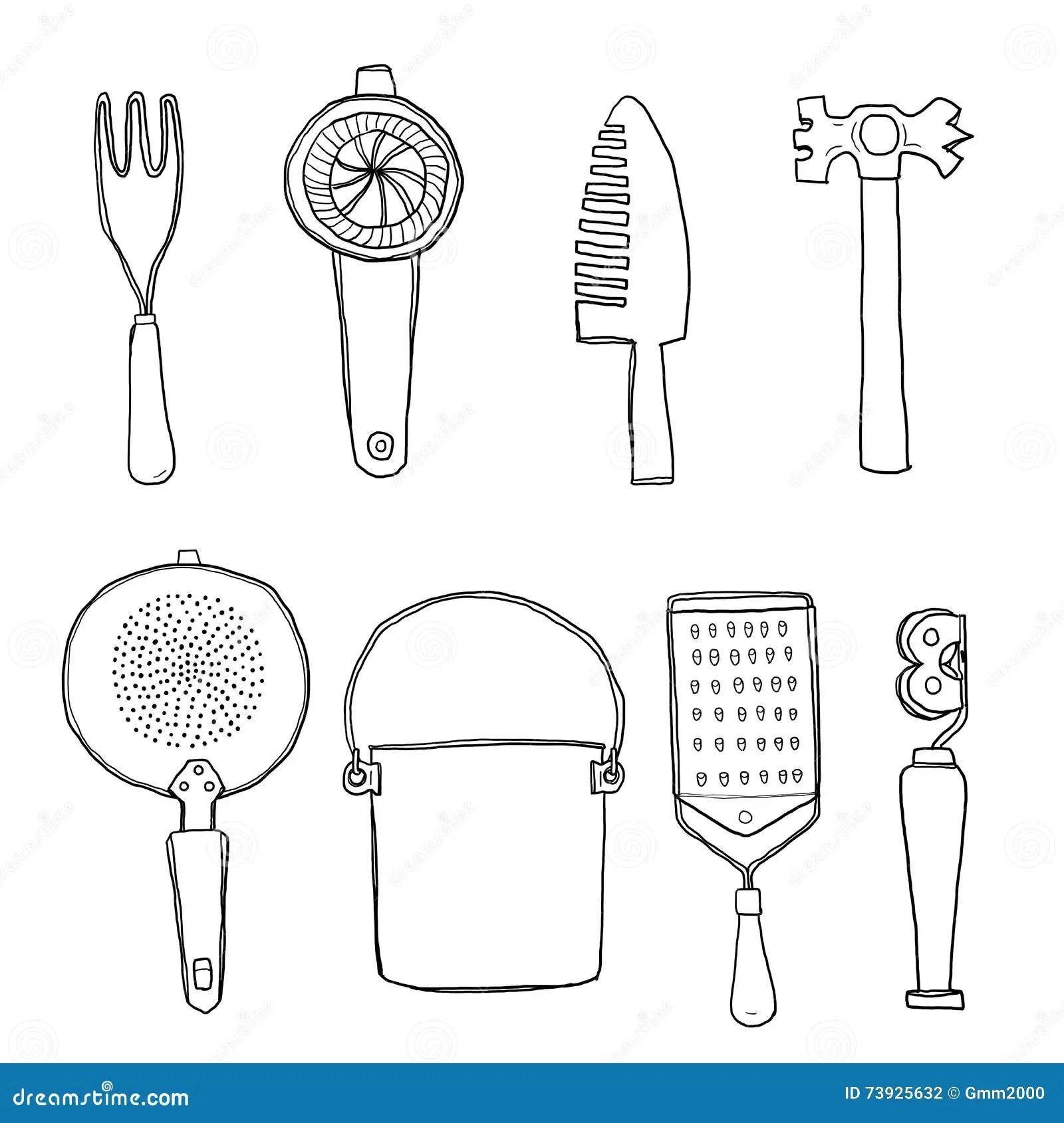 Vintage Kitchen Tools Hand Drawn Line Art Cute