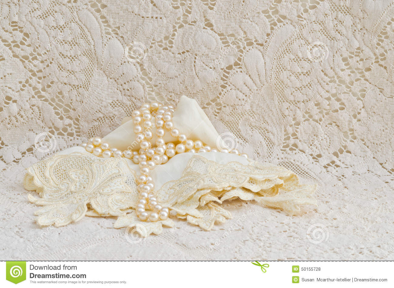 Vintage Lace Handkerchief And Pearls Stock Photo  Image