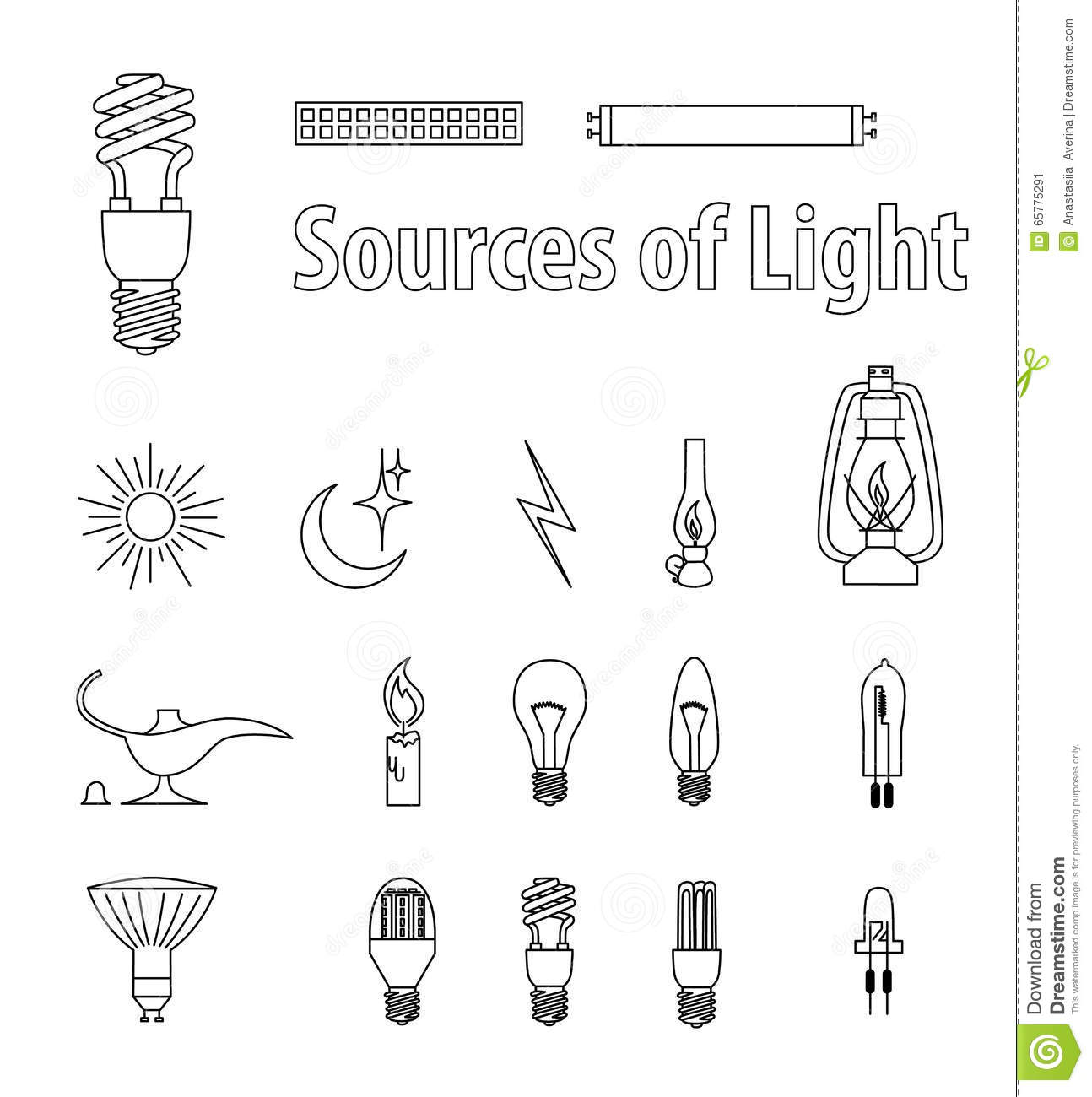Vintage Light Bulbs Vector Illustration Source Of Light Stock Vector