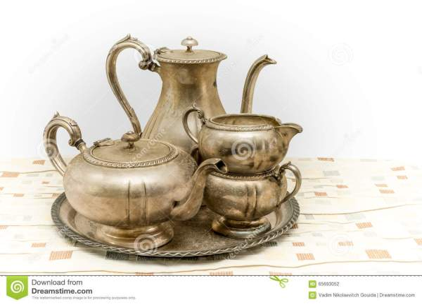 Vintage metal tea set stock photo Image of tray bowl