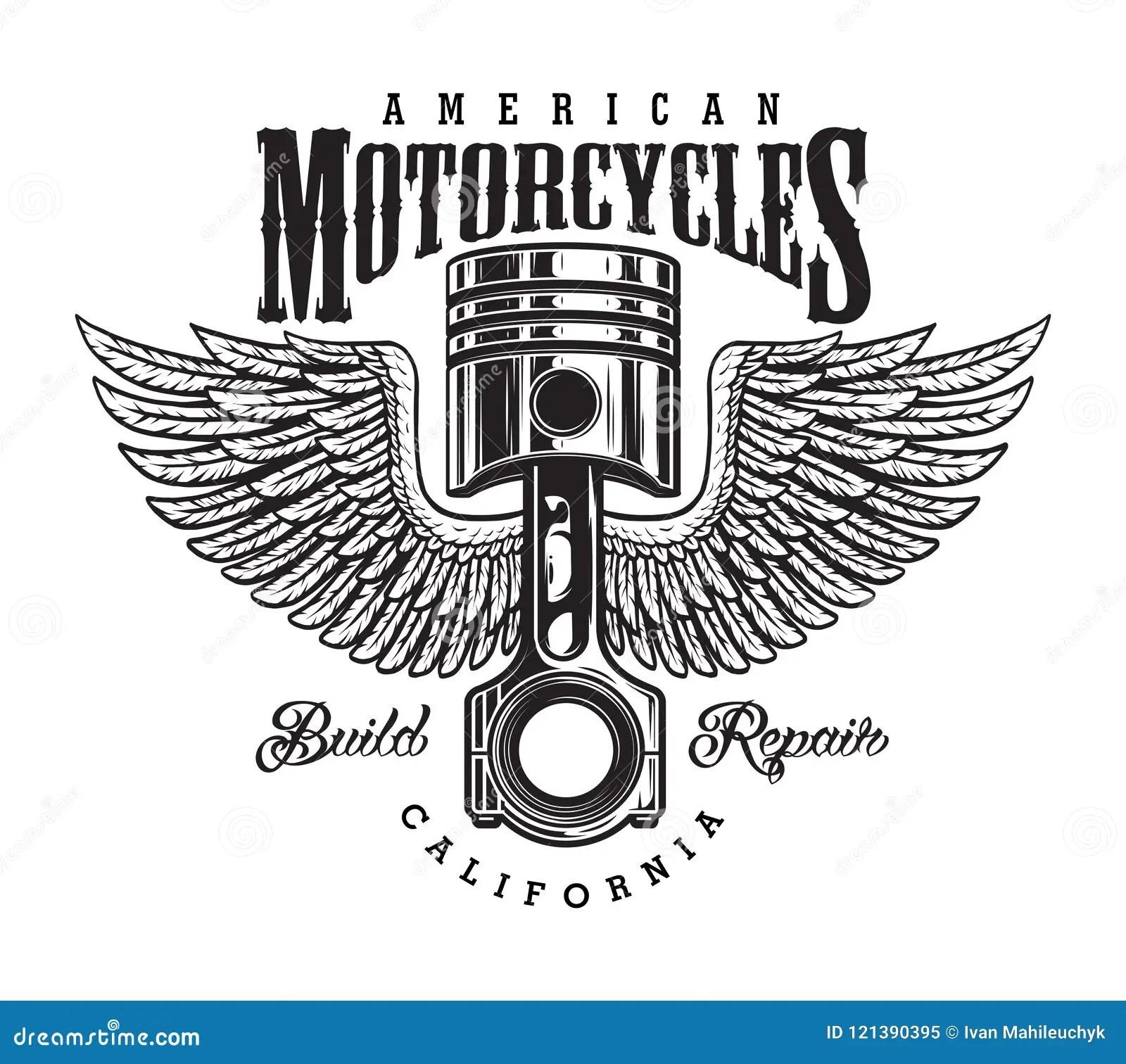 Vintage Monochrome Motorcycle Label Stock Vector