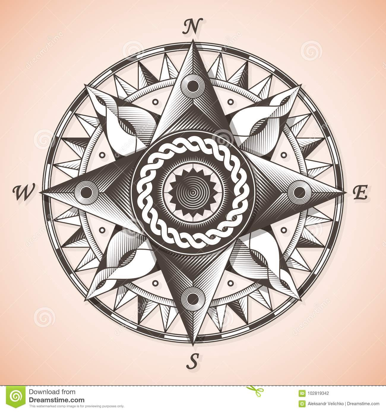 Vintage Old Antique Nautical Compass Rose Stock Vector