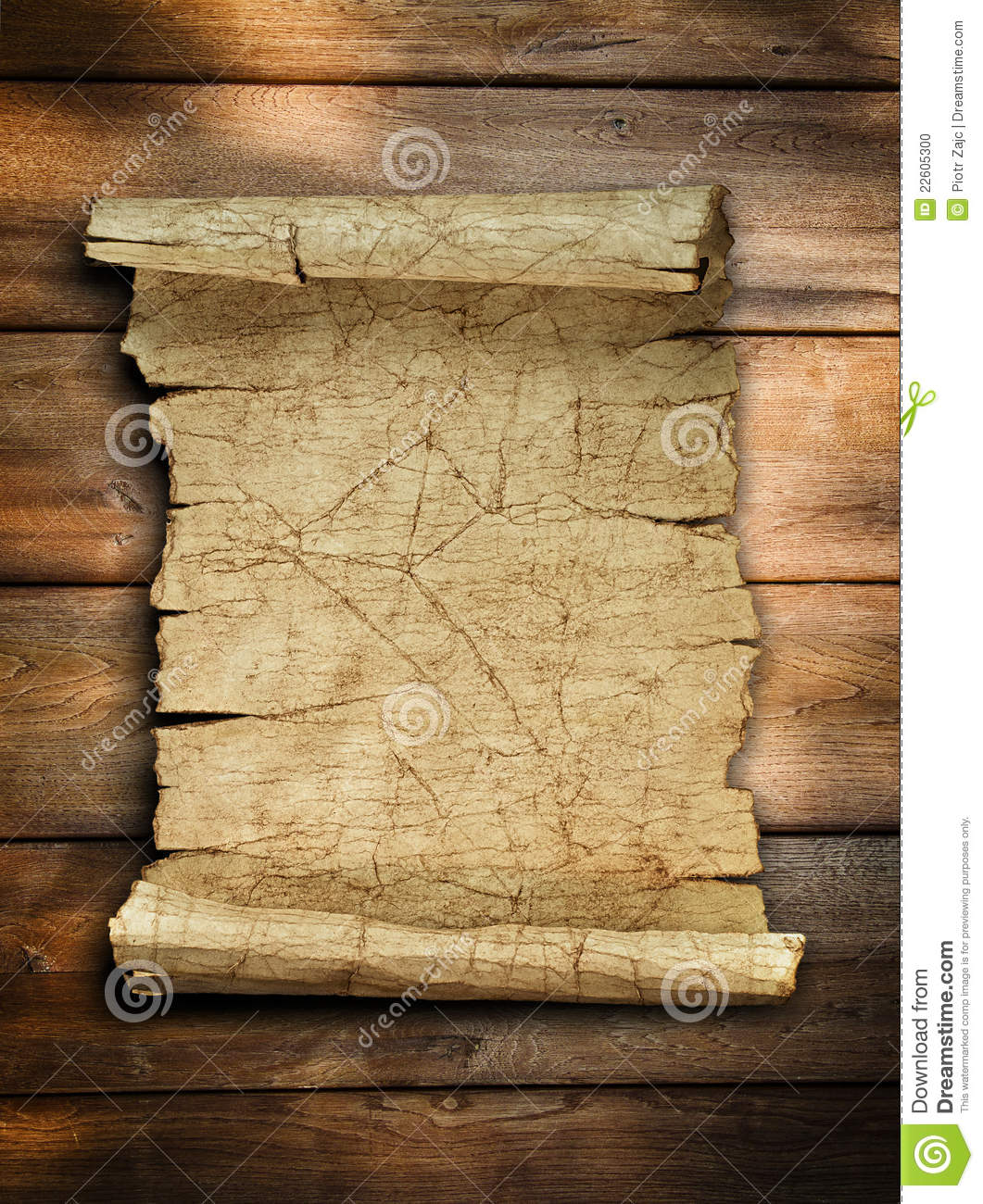 Vintage Old Paper Scroll At Wood Stock Photo Image 22605300