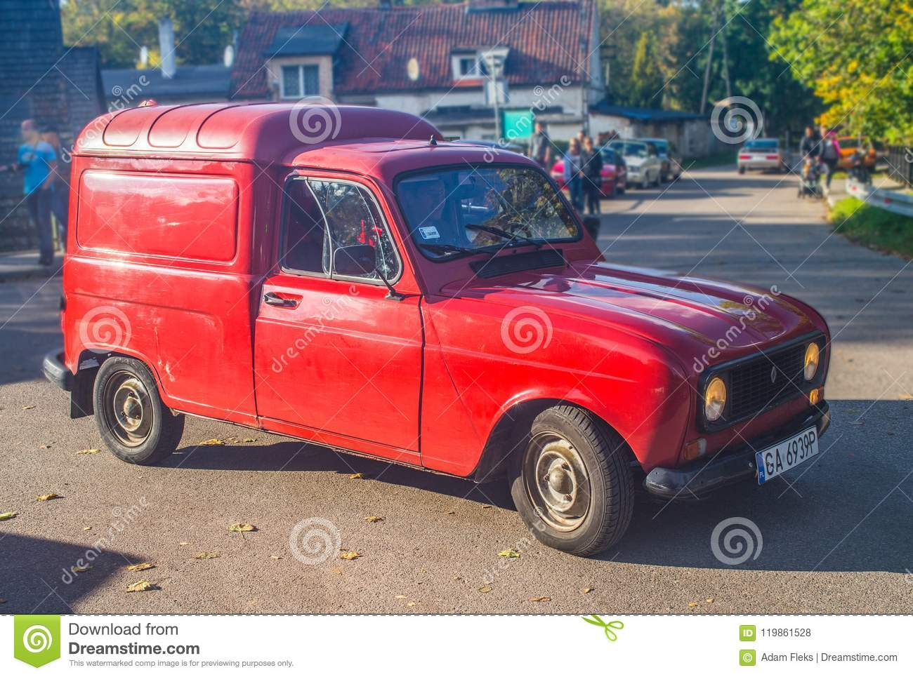hight resolution of old red renault 4 van at a car show