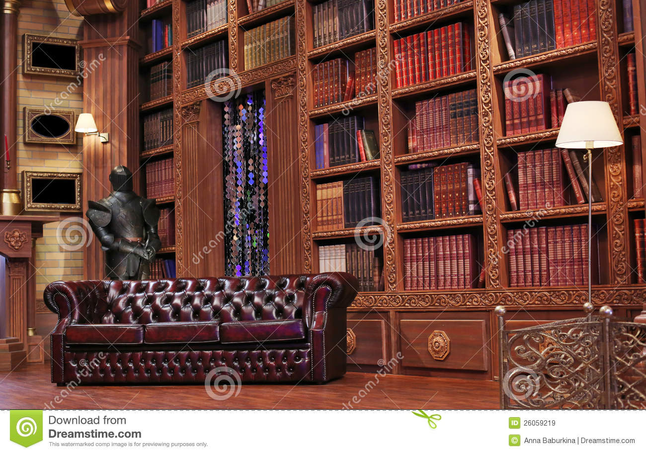 Vintage reading room stock image Image of couch ancient