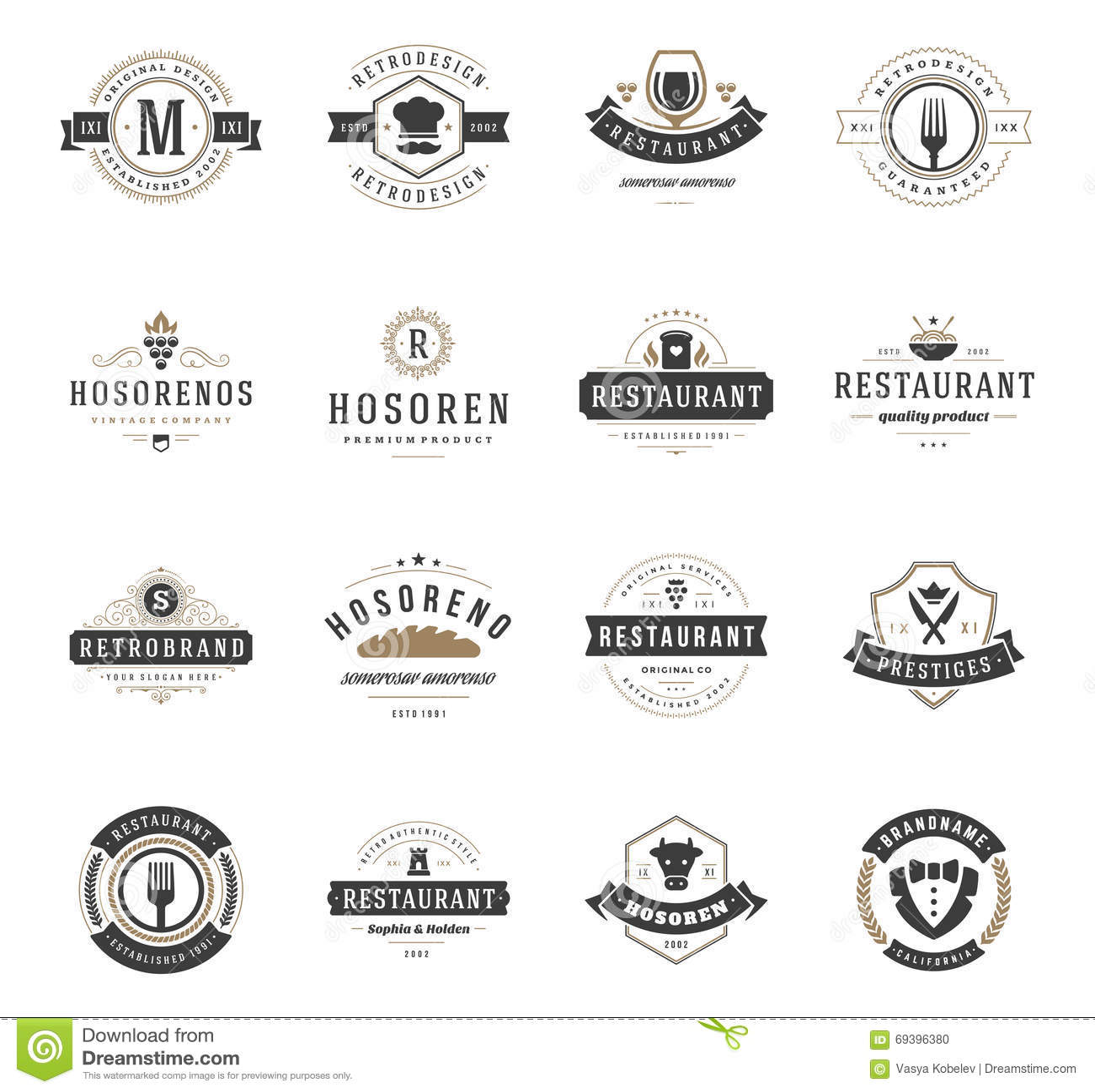 Vintage Restaurant Logos Design Templates Set Stock