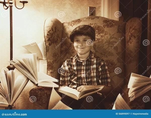 Vintage Retro Boy Reading Books Home Stock