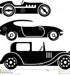 vintage retro car racing coupe and limo simple vector illustrations clip art eps [ 1300 x 1237 Pixel ]