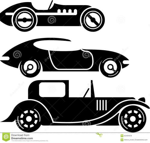 small resolution of vintage retro car racing coupe and limo simple vector illustrations clip art eps