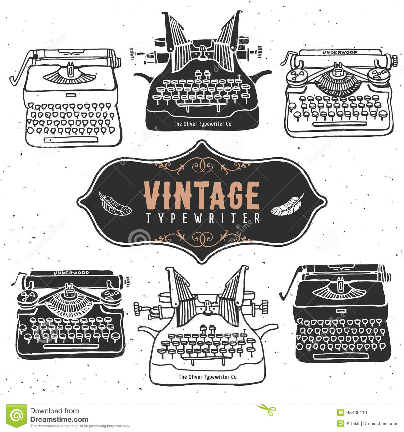Vintage Retro Old Typewriter Collection. Hand Drawn Vector