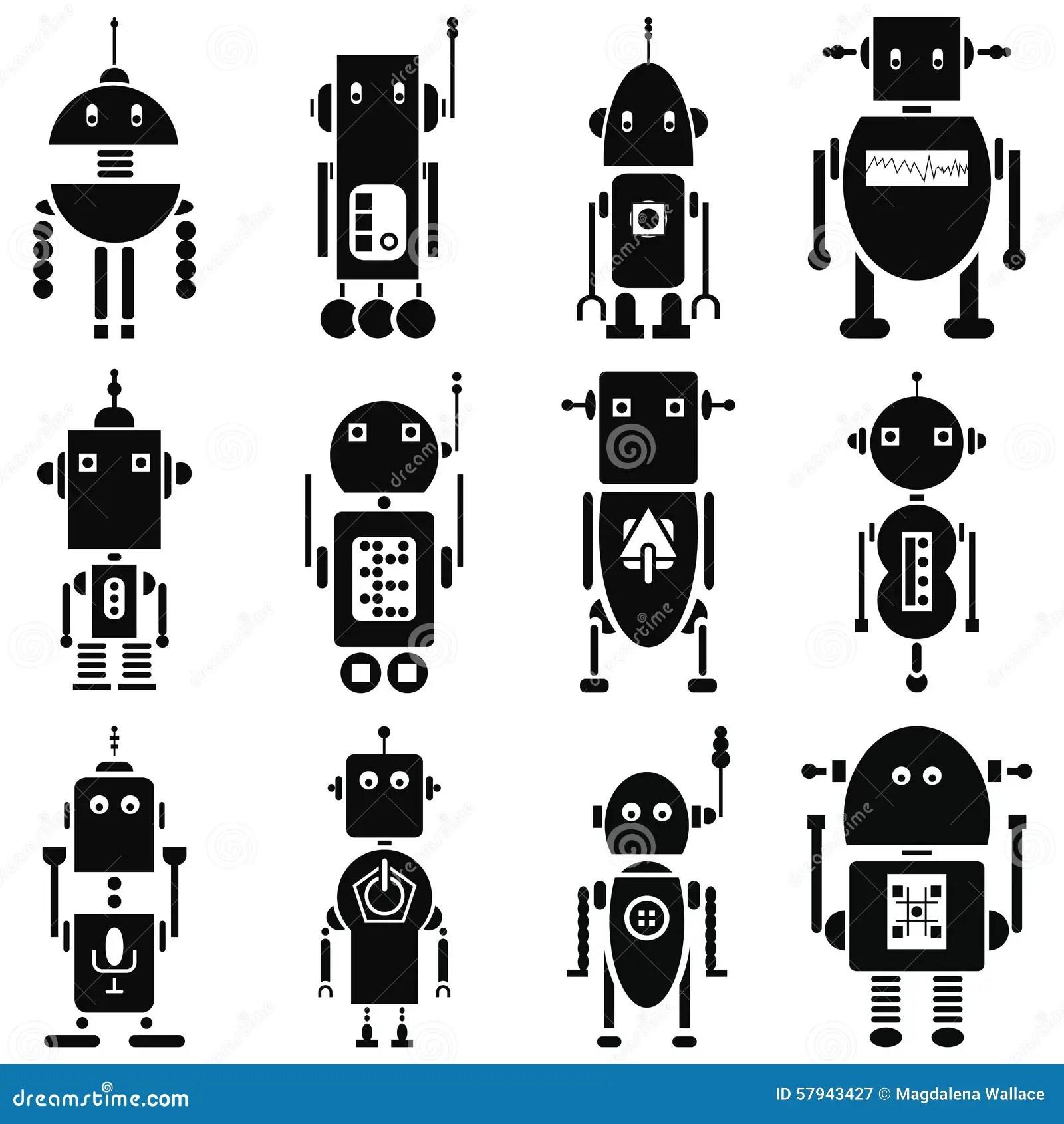 Vintage Retro Robots 2 Icons Set In Black And White Stock