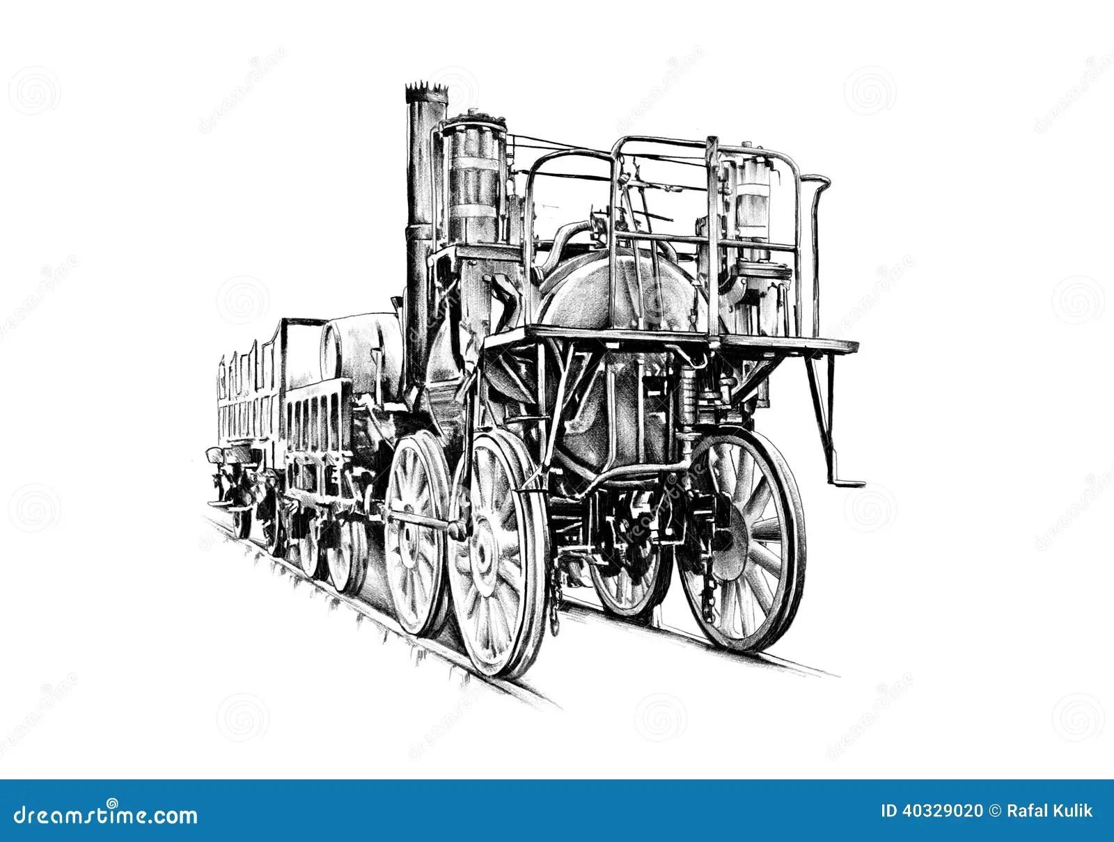 Vintage Retro Velho Do Motor Locomotivo De Vapor Ilustracao Stock