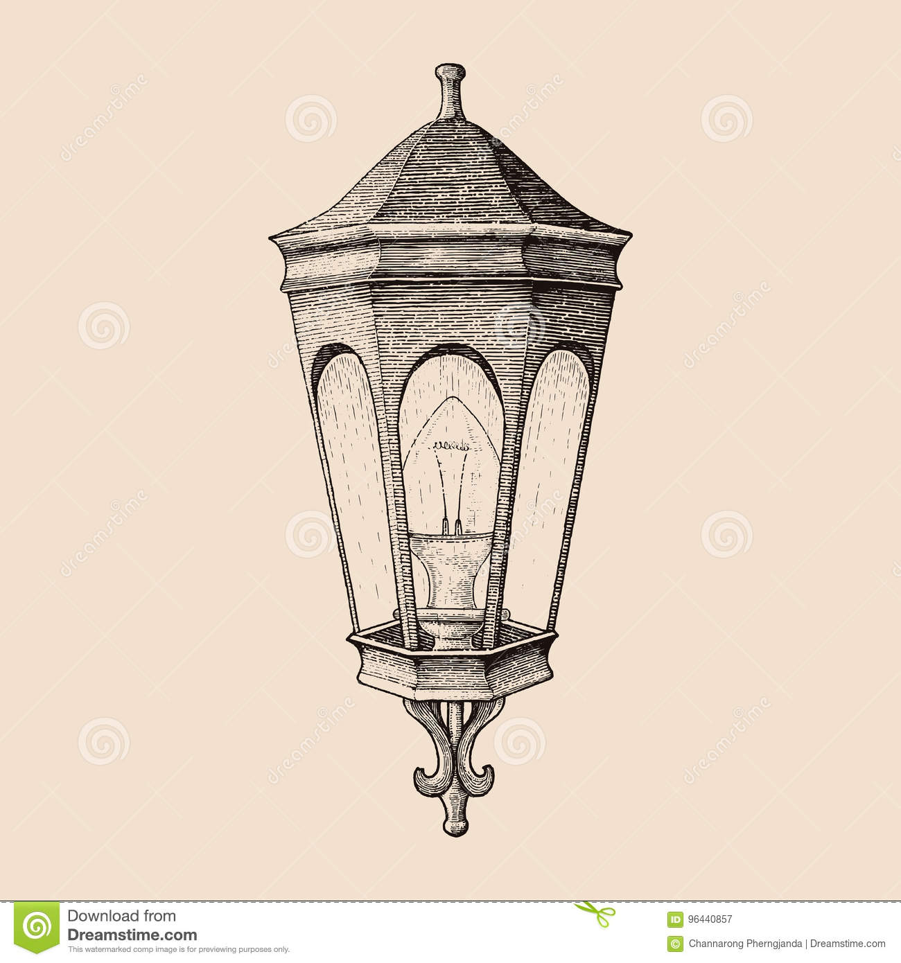 Vintage Road Lamp Hand Drawing Engraving Style Stock Vector Illustration Of Vector Retro 96440857