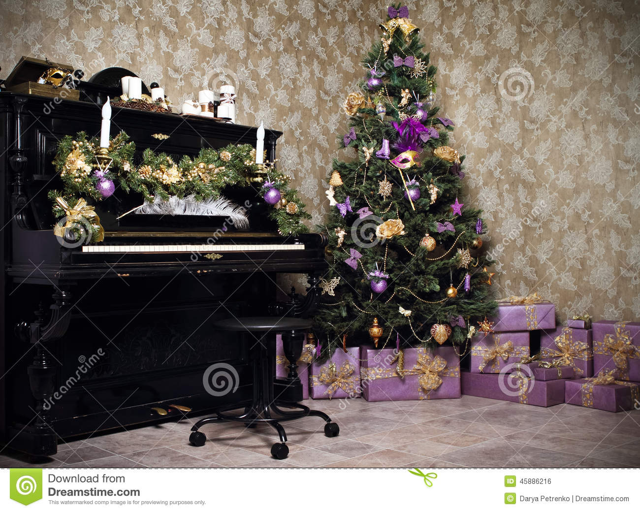 free rocking chair plans high seat chairs vintage room with a piano, christmas tree, candles, gifts or pr stock photo - image: 45886216