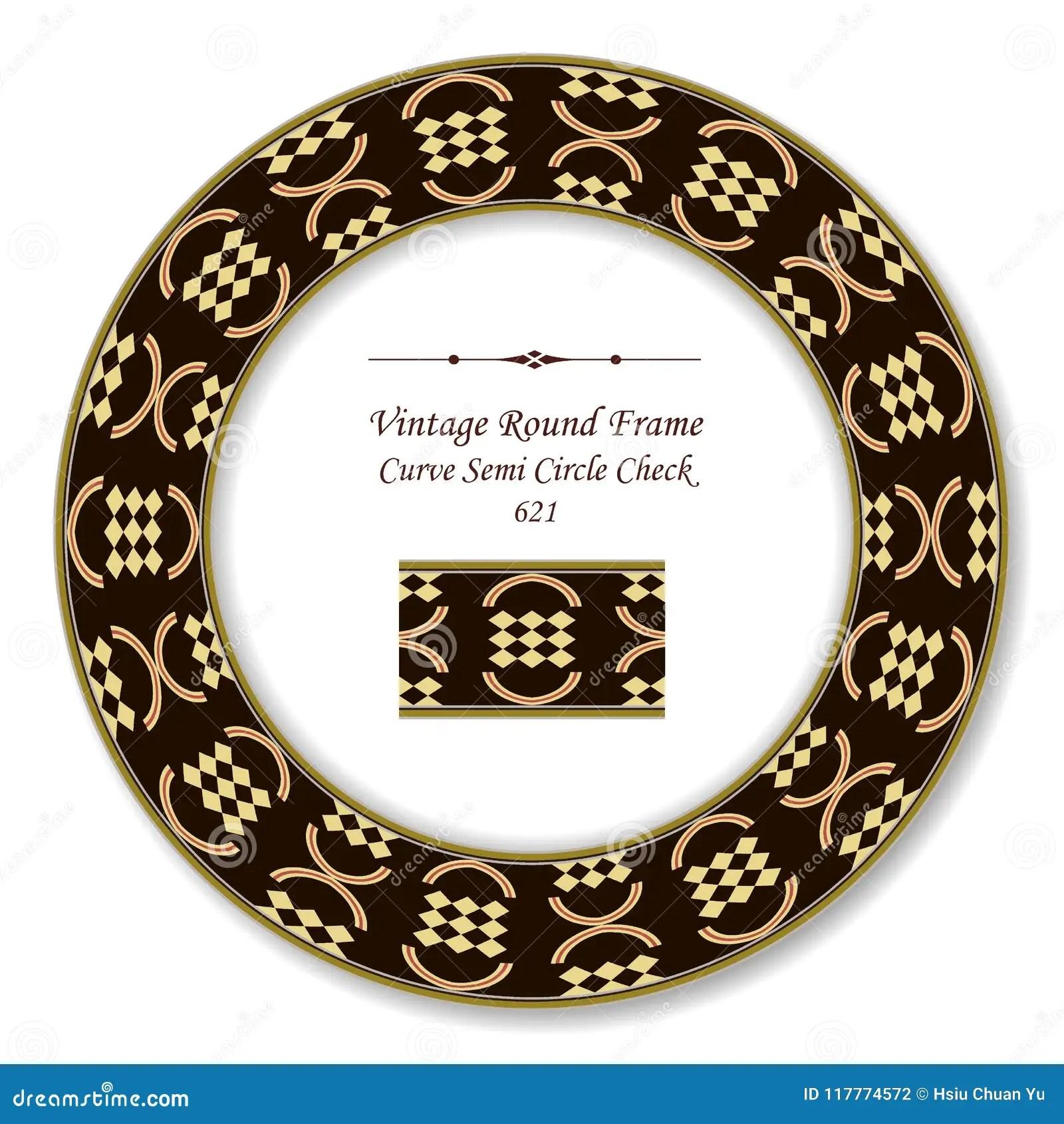Vintage Round Retro Frame Curve Semi Circle Check Geometry