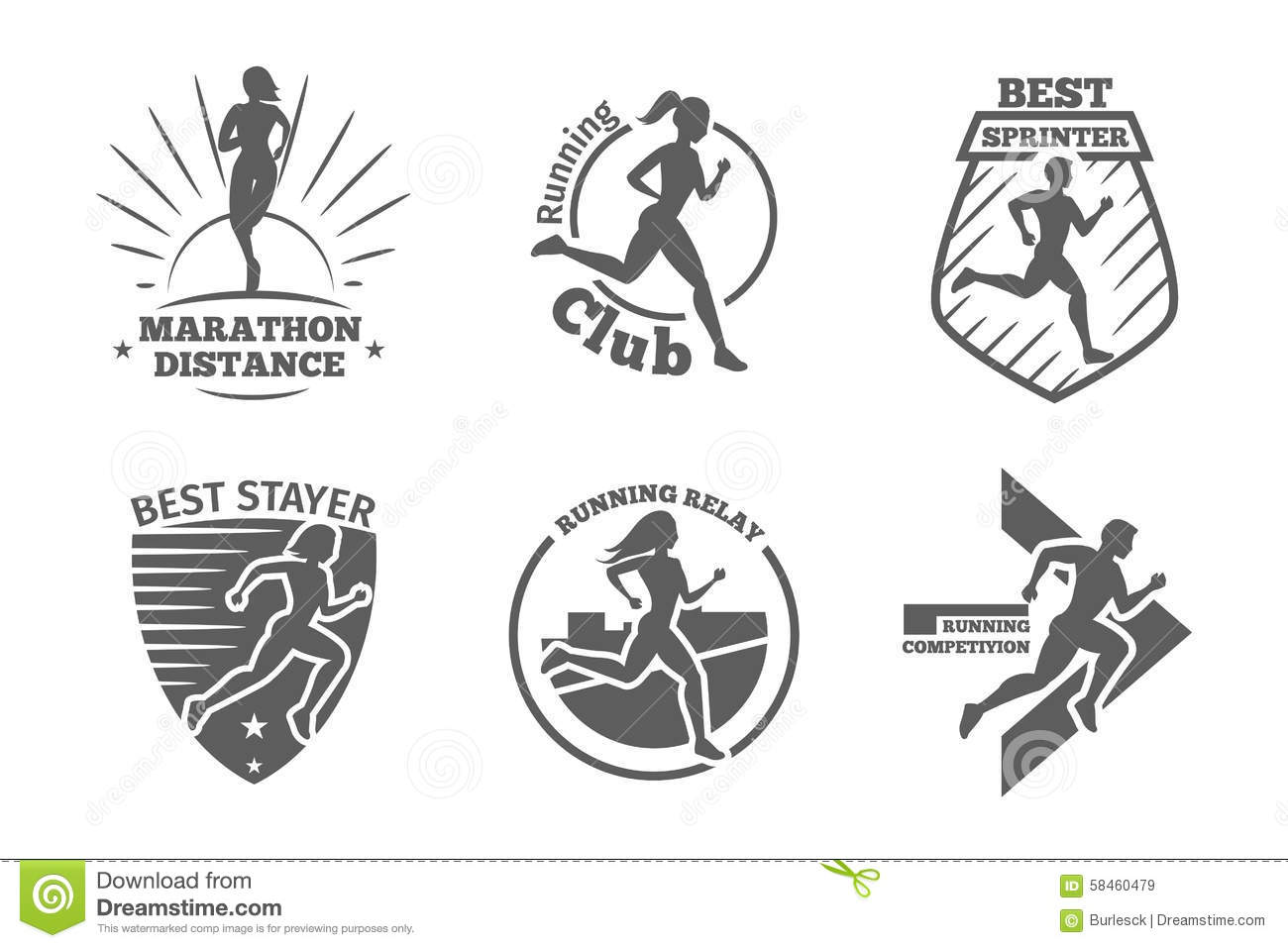 Vintage Running Club Vector Labels And Emblems