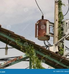 vintage rusty distribution transformer electric box on pole [ 1300 x 1066 Pixel ]