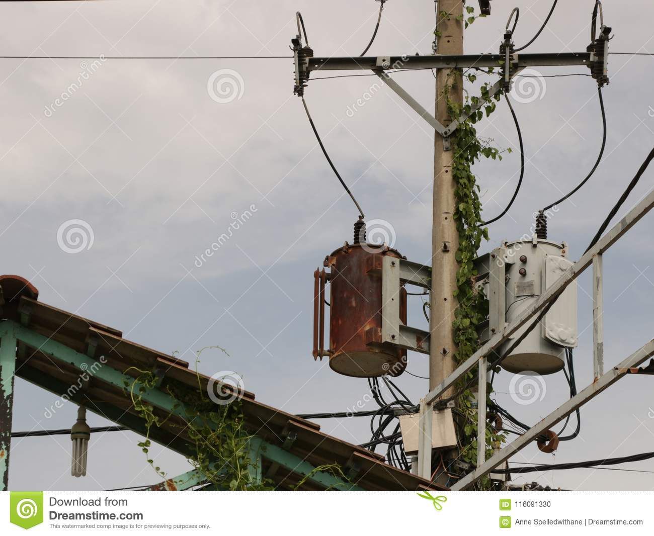 hight resolution of vintage rusty distribution transformer electric box on pole