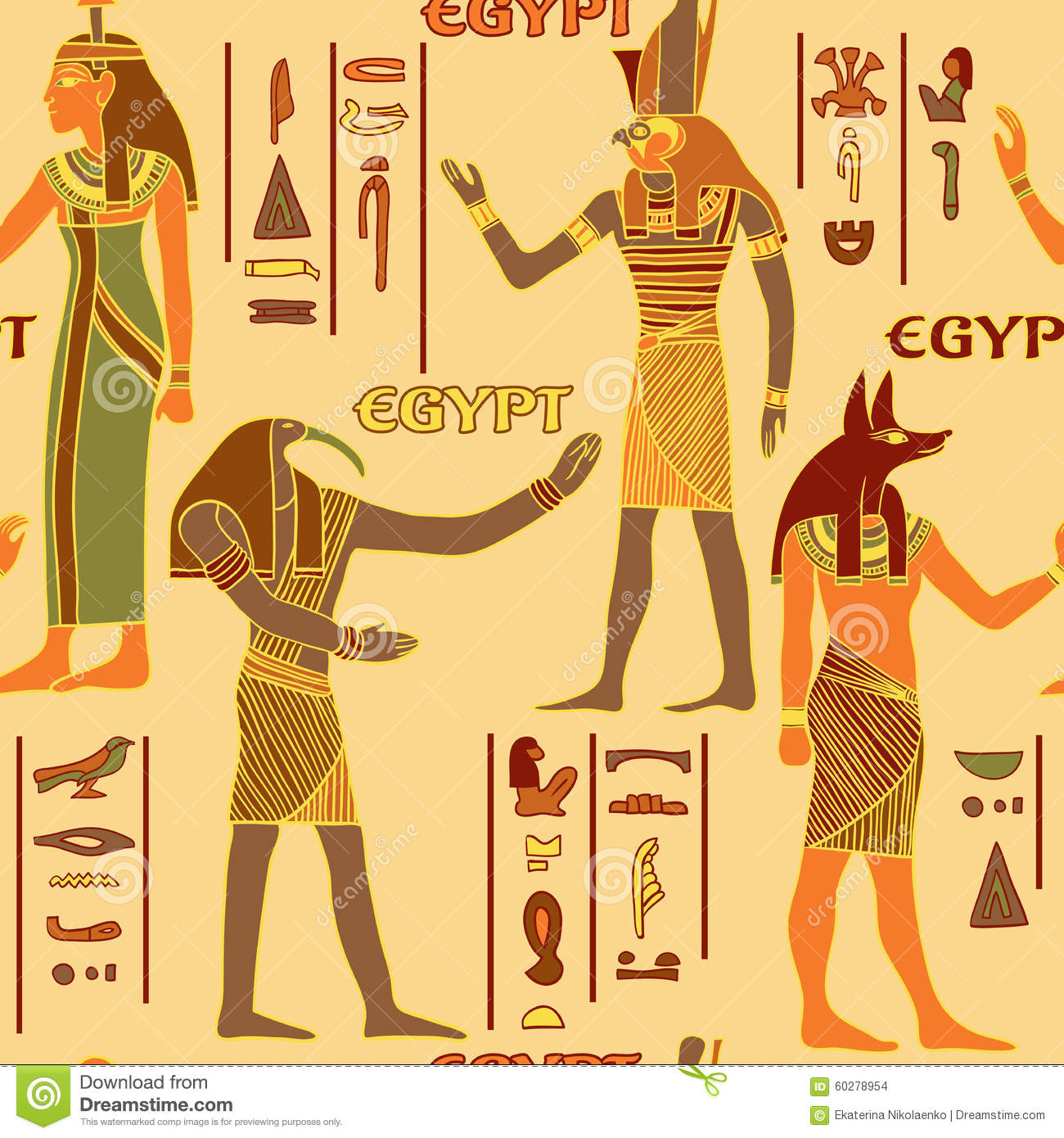 Vintage Seamless Pattern With Egyptian Gods And Ancient
