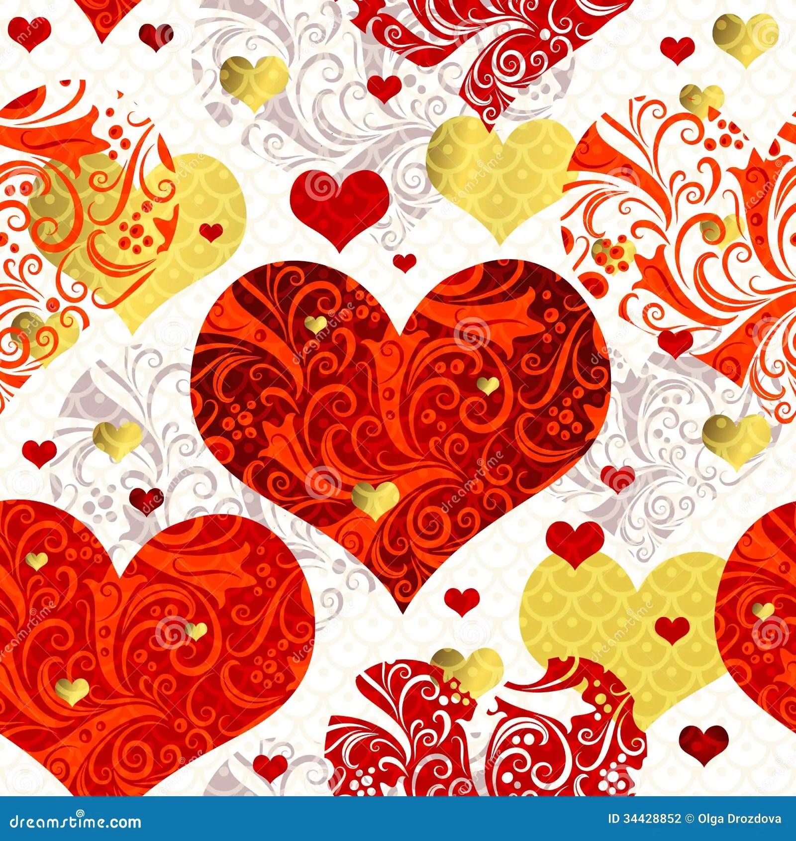 Vintage Seamless Valentine Pattern Stock Vector