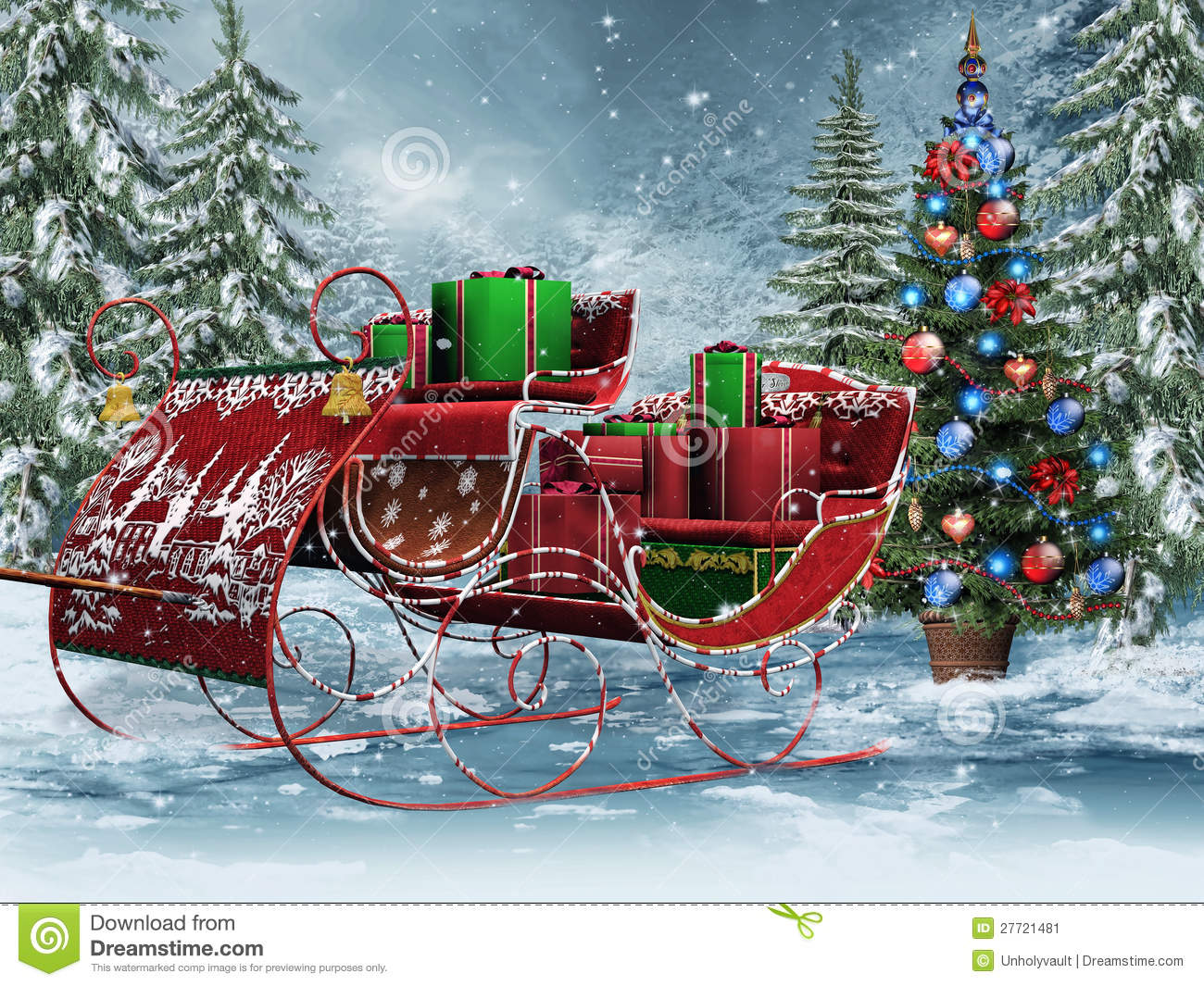 Vintage Sleigh With Gifts Stock Image Image 27721481