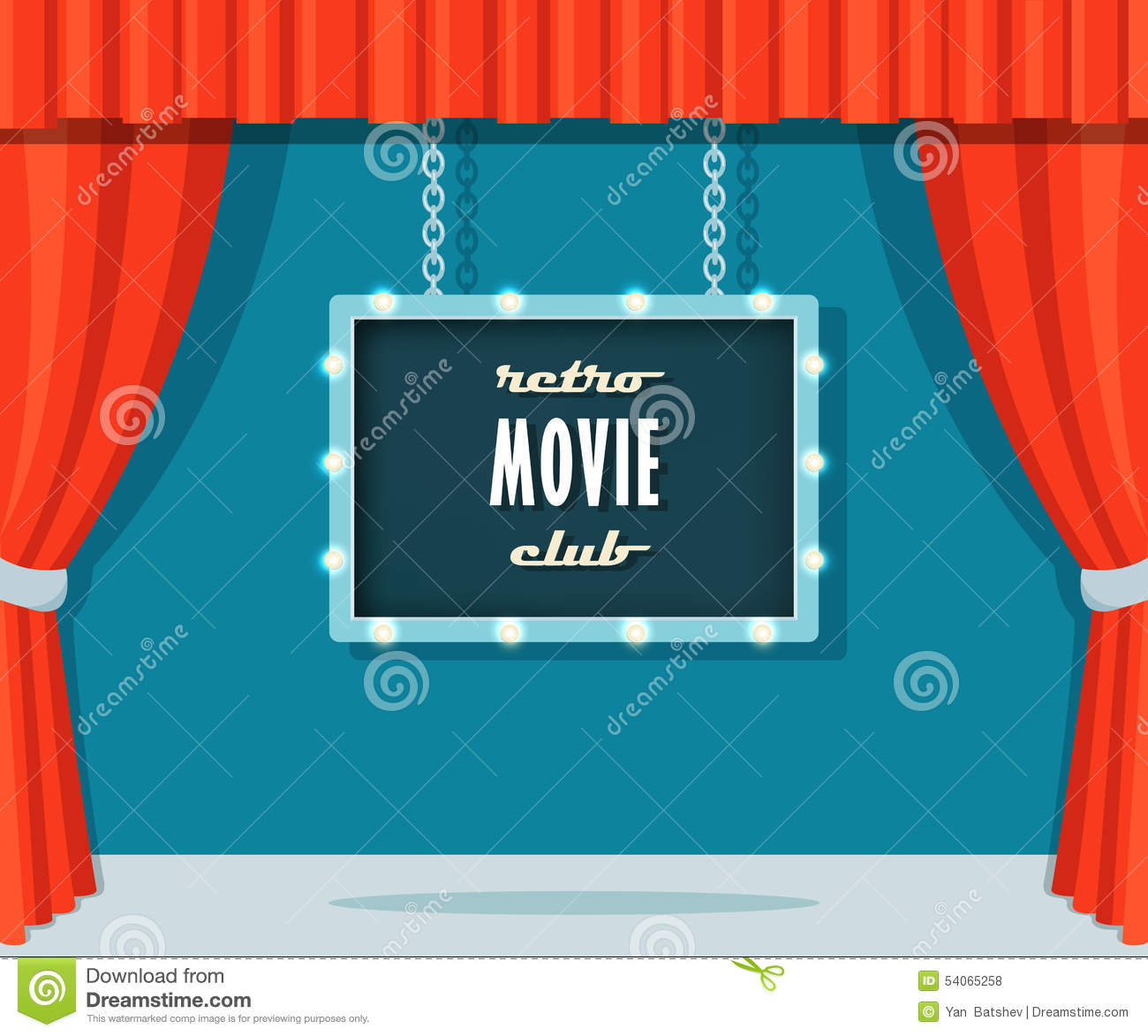 Vintage Stage With Red Curtains And Marquee Sign Retro Movie Club Stock Vector Image 54065258