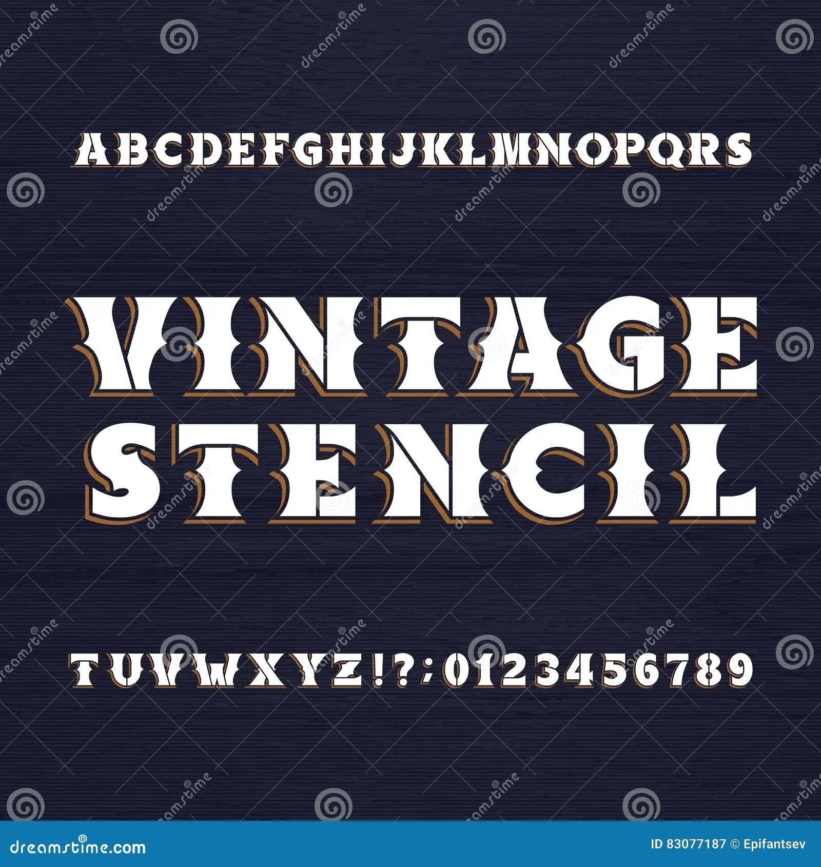 Vintage Stencil Typeface Retro Alphabet Font On A Wooden