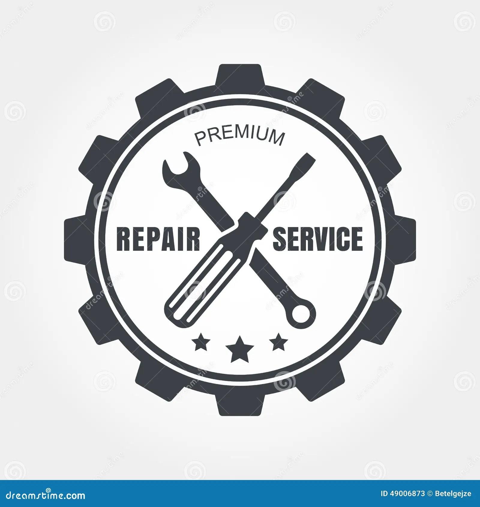 Vintage Style Car Repair Service Label. Vector Logo Design