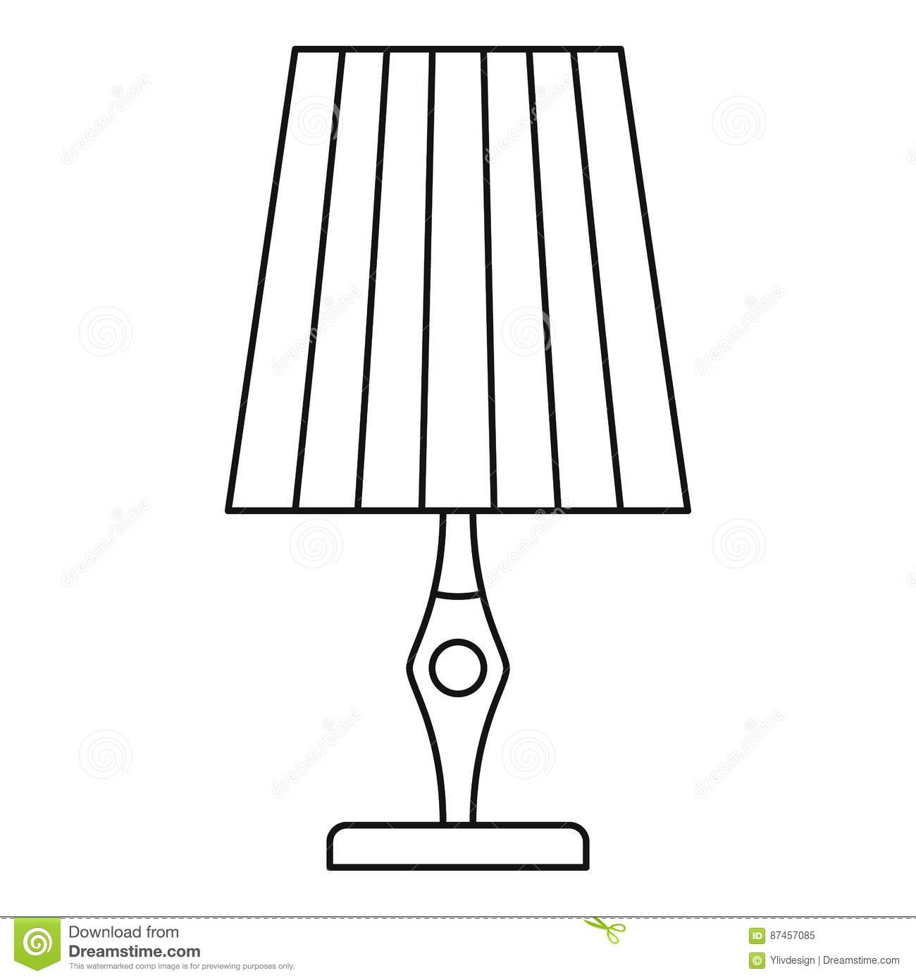 Vintage Table Lamp Icon Outline Style Cartoon Vector