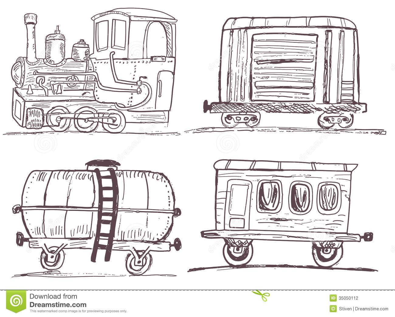 Vintage Train With Wagons Sketch Stock Vector