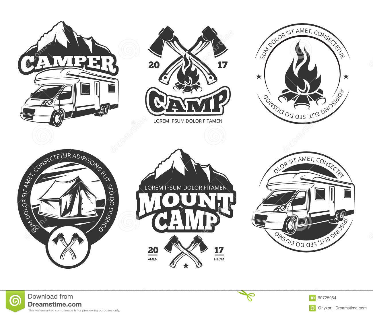 Vintage Vector Labels Set With Camper Near Mountain, Tent