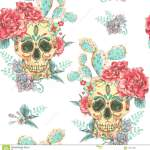 Vintage Vector Seamless Pattern With Skull And Roses Stock Vector Illustration Of Repeat Decoration 101914565