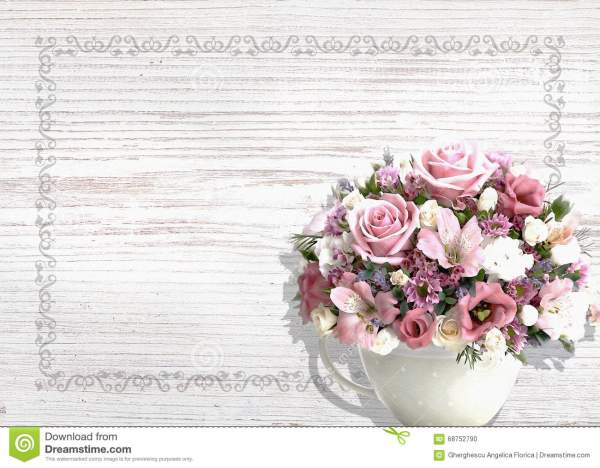 Vintage White Wood Background With Flowers In A Vintage