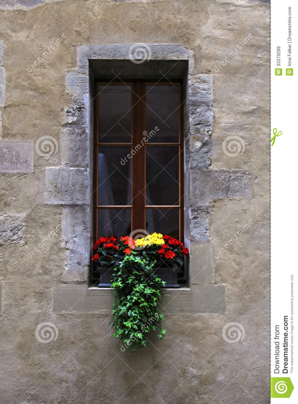 Vintage Window With Flowers And Window Box Royalty Free Stock Images  Image 33379289