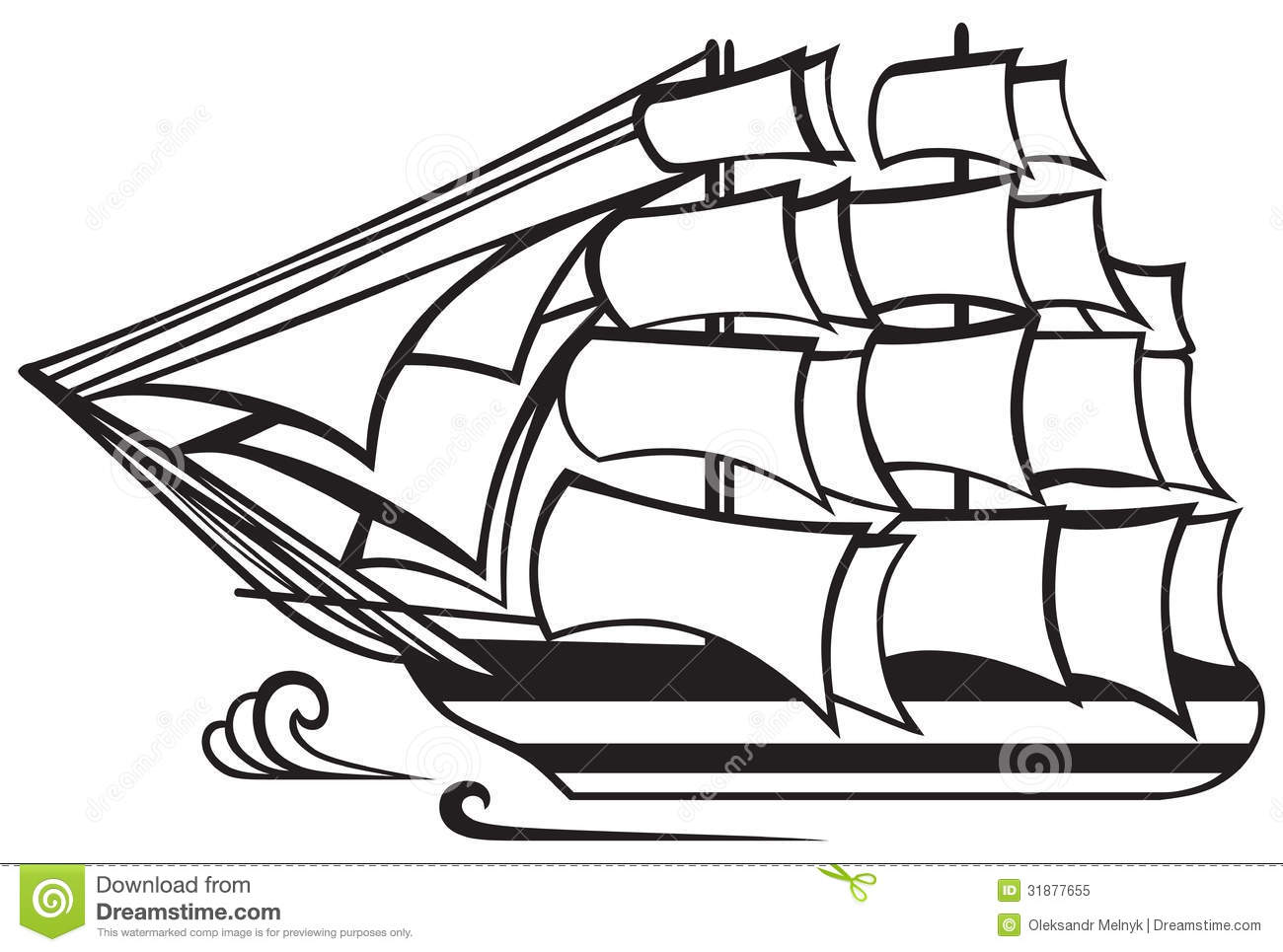 Vintage Wooden Tall Ship Stock Vector Image Of Object