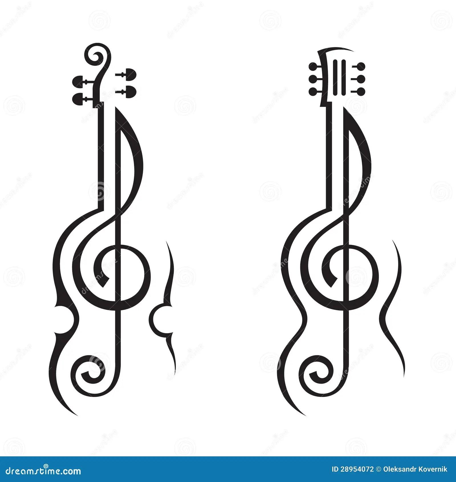 Violon Guitare Et Clef Triple Illustration De Vecteur