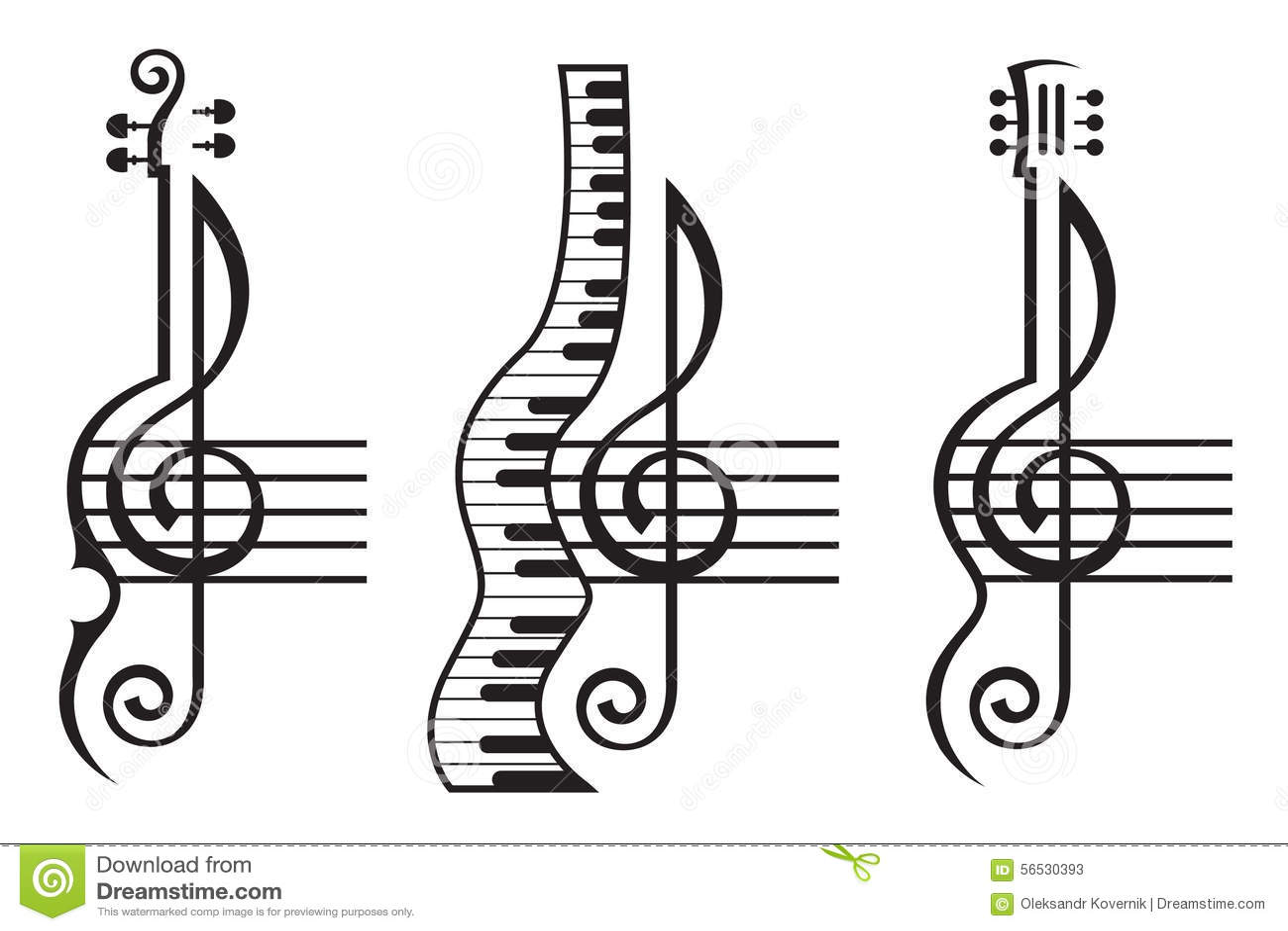 Violon Guitare Piano Et Clef Triple Illustration De
