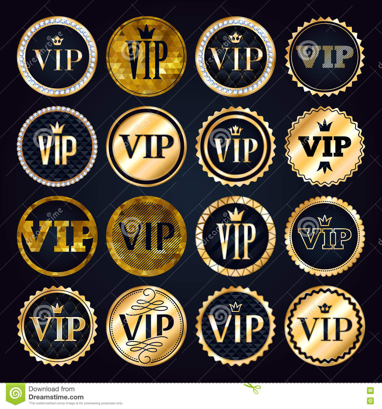 vip premium golden badges